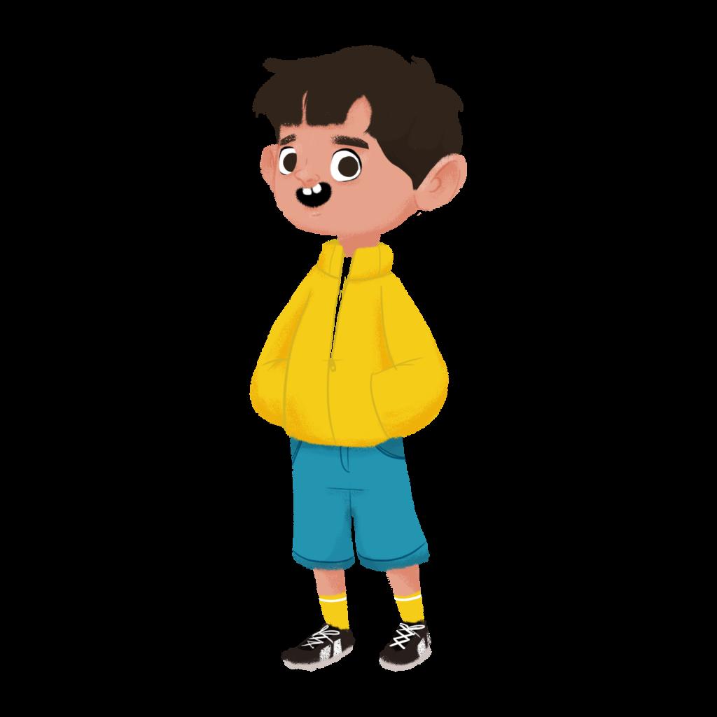 Ilustración de un niño con cabello castaño vistiendo una chaqueta amarilla, shorts celestes, medias amarillas y zapatos deportivos negros.