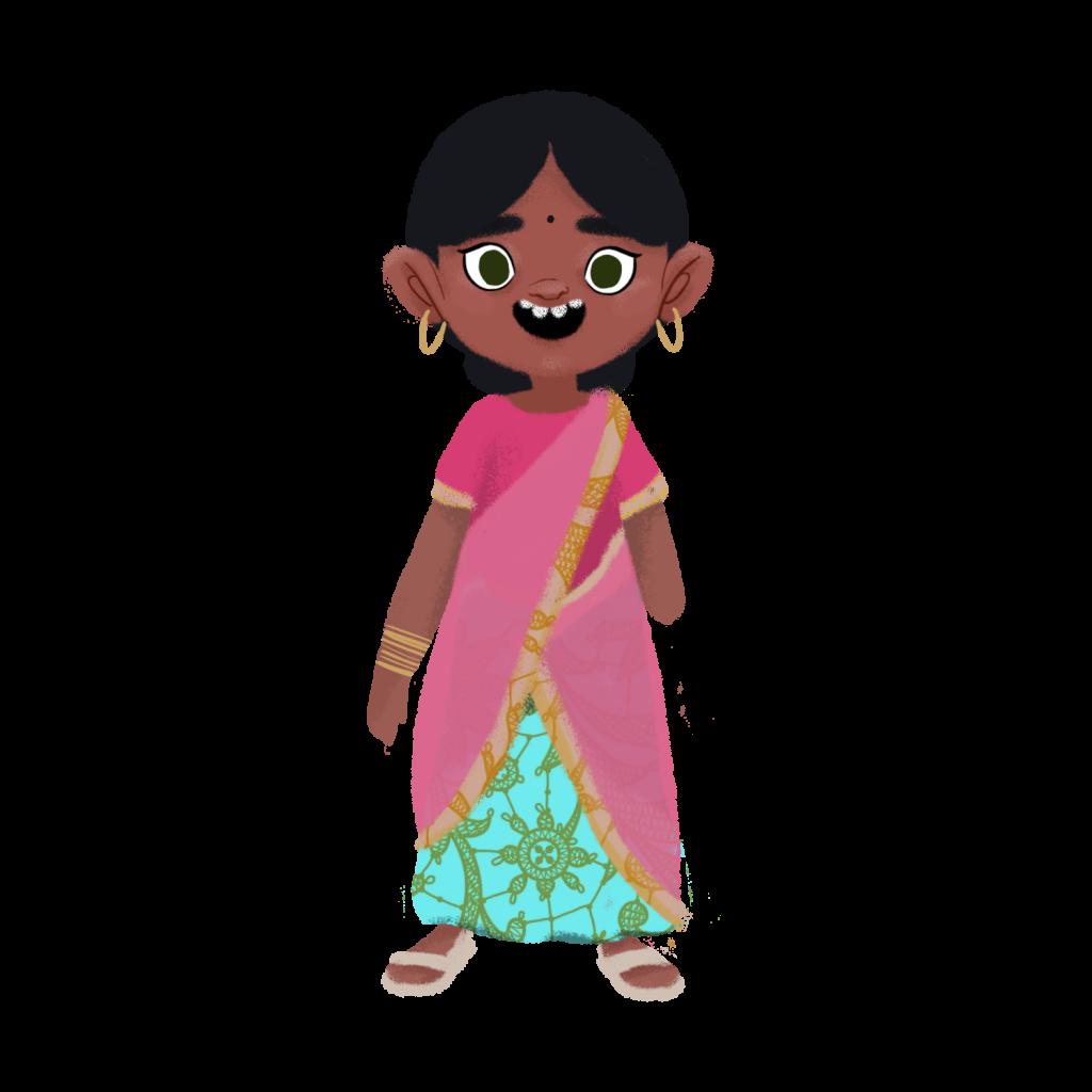 Ilustración de una niña con cabello negro peinado en un rodete bajo, vistiendo ropa típica de la India como un shari color rosa, esmeralda y dorado, con unas sandalias rosa claro. Usa grandes aros dorados en las orejas, muchas pulseras en su brazo derecho. Su brazo izquierdo esta amputado a la altura del codo.