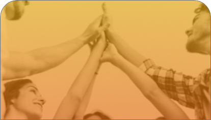 Image with a monochrome background in yellow tones of a group of people standing in a semicircle, joining their outstretched hands in the center.