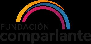 Fundación Comparlante. Logo compuesto por tres líneas curvas en colores amarillo, azul y magenta, las cuales forman un puente. Debajo, en letras color negro se lee Fundación Comparlante.