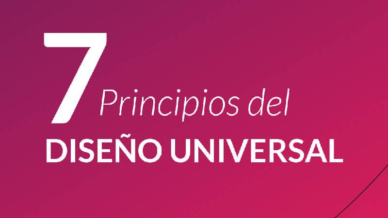 texto que dice: 7 principios del diseño universal en letras blancas sobre fondo magenta.