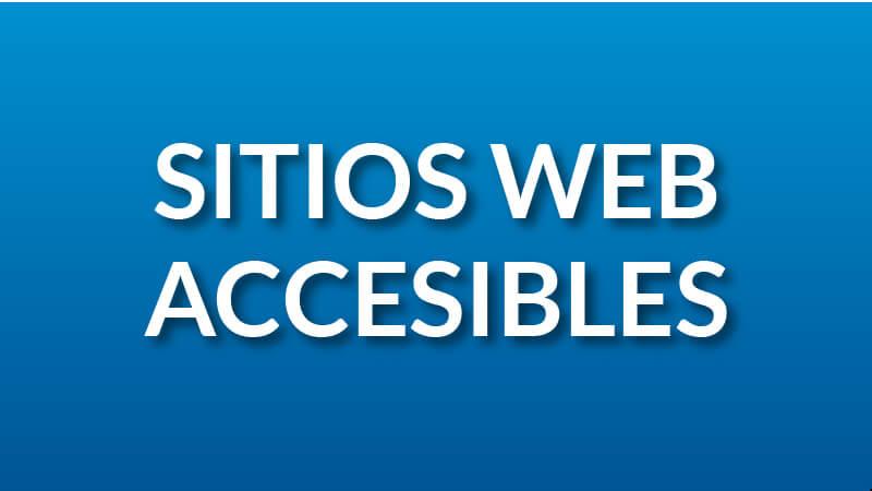 Texto blanco que dice Sitios web accesibles, con fondo azul.