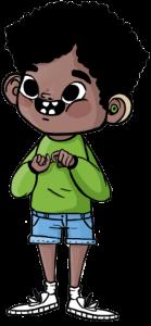 Ilustración de un niño con cabello negro corto enrulado vistiendo una camisa manga larga verde, shorts celestes de jean, medias y zapatos deportivos blancos. Usa un audífono color verde y con sus manos está haciendo la palabra amistad en Lengua de Señas.