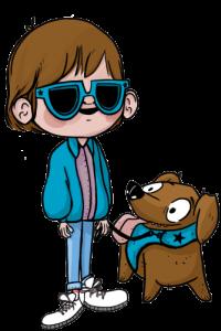 Personaje con discapacidad visual y su perro guía.