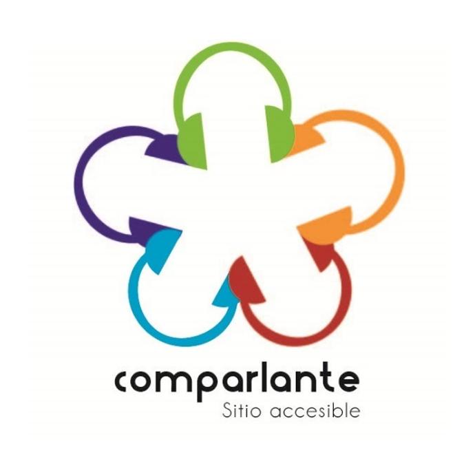 """Logo antiguo de Comparlante con la inscripción """"Comparlante, sitio accesible"""""""