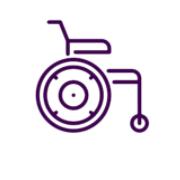 Icono de silla de ruedas en color morado.