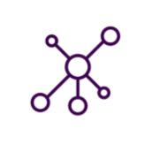Icono de puntos interconectados por trazos de líneas, simbolizando una red de personas.