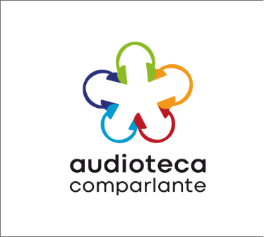 """Logo de Audioteca Comparlante: ícono de auriculares multicolores entrelazados en rueda formando una flor sobre fondo blanco con las palabras """"Audioteca Comparlante"""" en color negro."""