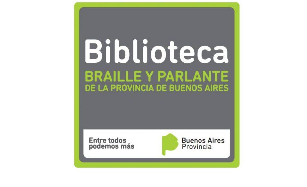 Logotipo de biblioteca de braile y parlante de Buenos Aires, Argentina.