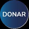 """Texto """"Donar"""" escrito en letras blancas sobre un círculo azul."""