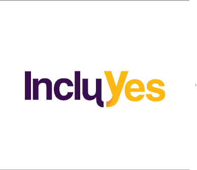 """Logo of IncluYes over a white background. The letters of """"Inclu"""" in purple and the letters of """"Yes"""" in yellow."""