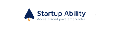 """Logo of Startup Ability program: Dark blue triangle representing the figure of a rocket with a small flame of fire on the lower side, accompanied by the words """"Startup Ability"""" in the same shade of blue and the words """"accessibility for entrepreneuring"""" in light blue."""