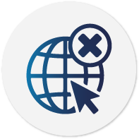 Icon composed by a cursor clicking on a Earth globe and above all, an error symbol.