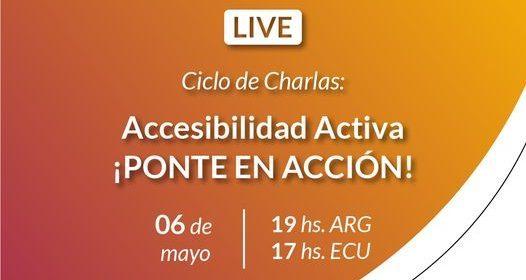Puede ser una imagen de 1 persona y texto que dice LIVE Ciclo de Charlas: Accesibilidad Activa ¡PONTE EN ACCIÓN! 06 de mayo 19hs.ARG hs. ARG 17 hs.ECU hs. Eduardo Raffetto Entrenador de tenis adaptado.