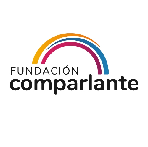 Image showing the new logo of Fundación Comparlante. It is three curved lines forming a bridge, underneath Comparlante Foundation.