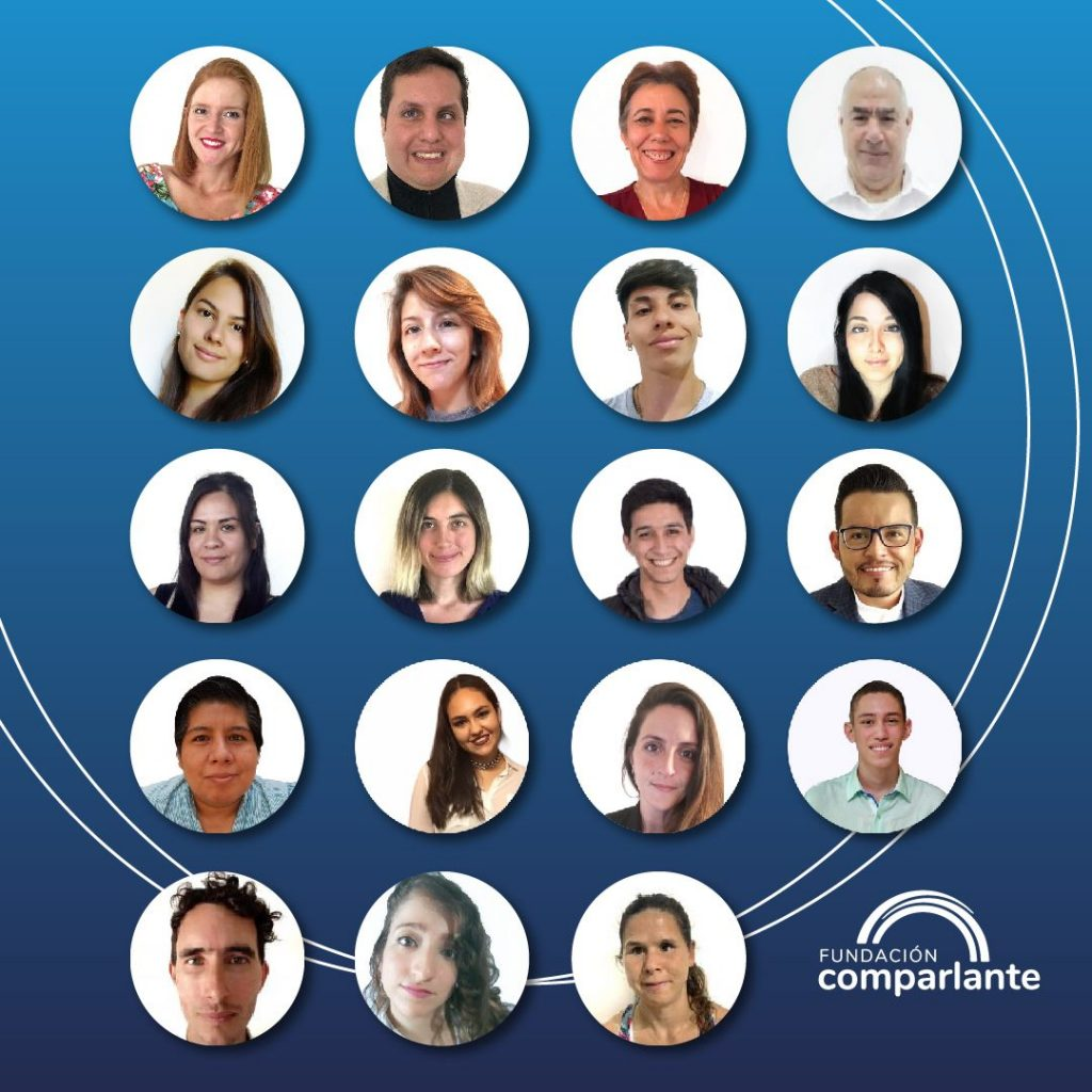 Imagen en fondo azul con pequeños circulos en cada uno de ellos los miembros de la fundación. Logotipo Fundación Comparlante.