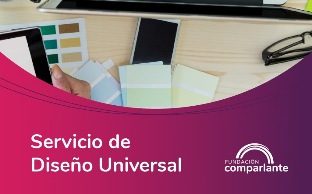 Image of a desk with person working on a computer on pink background. Fundación Comparlante logo.