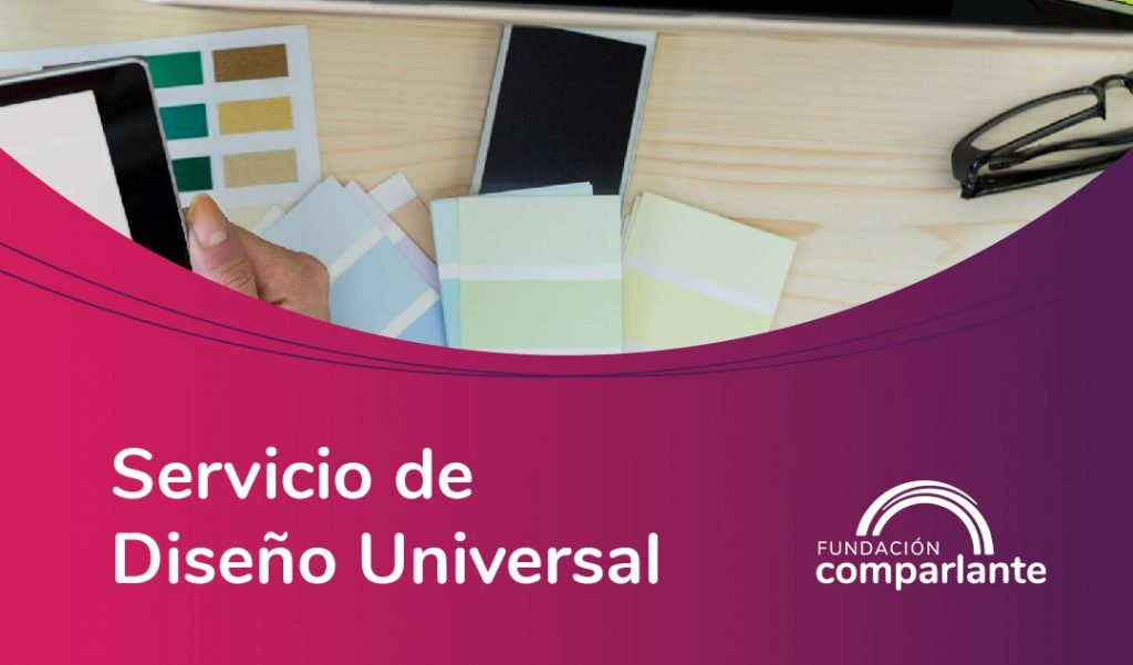 Imagen de un escritorio con persona trabajando en una computadora en fondo rosa. Logotipo Fundación Comparlante.