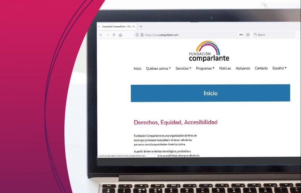 Imagen en fondo blanco con detalles en rosa, en el fondo computadora con la pagina web de Comparlante.