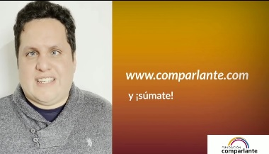Image on orange background on the left Image of Sebastian. In the center, invitation to collaborate with the foundation. Fundación Comparlante logo.