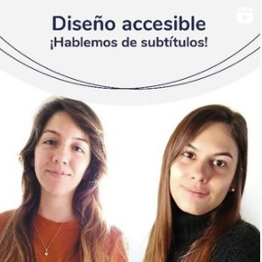 White background image with Camila and Pilar, members of the Universal Design team.