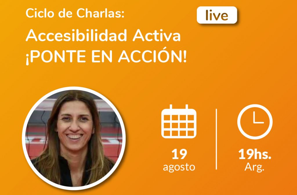 Image from the active accessibility cycle of talks. Claudia González, Argentinean sitting volleyball referent.