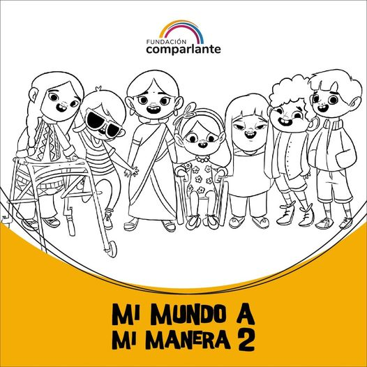 Image of children characters from #MiMundoAMiManera. Comparlante Foundation logo.
