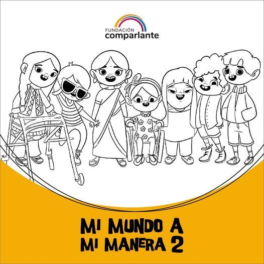Imagen de personajes niños de #MiMundoAMiManera. Logotipo Fundación Comparlante