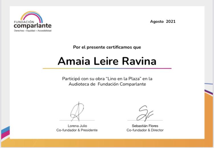 Imagen de un certificado a nombre de Amaia Leire Ravina participante autora de Lino en la Plaza. Logotipo Fundación Comparlante.