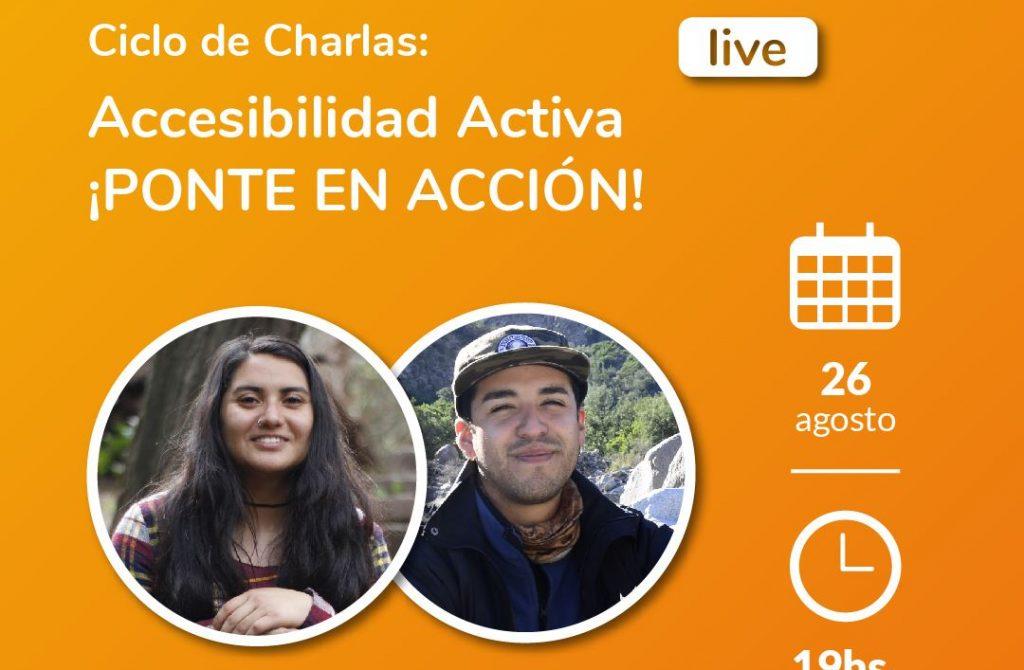 Imagen de ciclo de charlas: Accesibilidad Activa ¡Ponte en Accion!- Jandy Cayunao y Victor Saenz. Skate adaptado.Logotipo Fundación Comparlante.