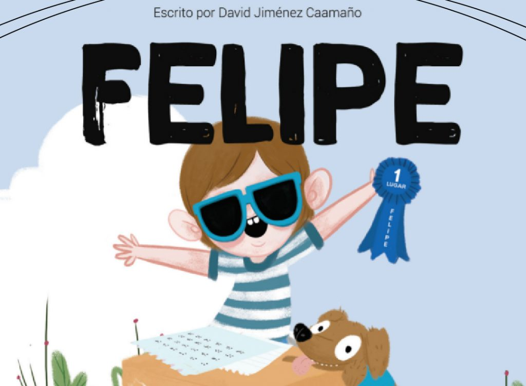 Image of the caricature of Felipe, a smiling boy raising his arms with sunglasses and a light blue T-shirt. Comparlante Foundation logo.