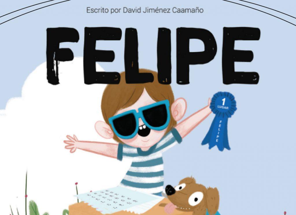 Imagen de la caricatura de Felipe, un niño sonriendo levantando sus brazos con lentes de sol y remera en tonos celeste. Logotipo Fundación Comparlante.