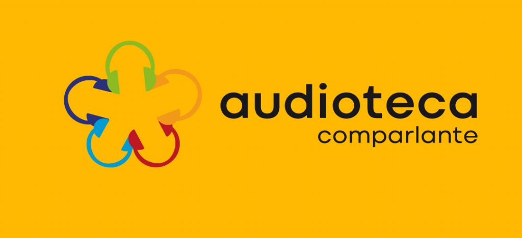 "Logo image: ""audioteca de Fundacion Comparlante"" on yellow background."