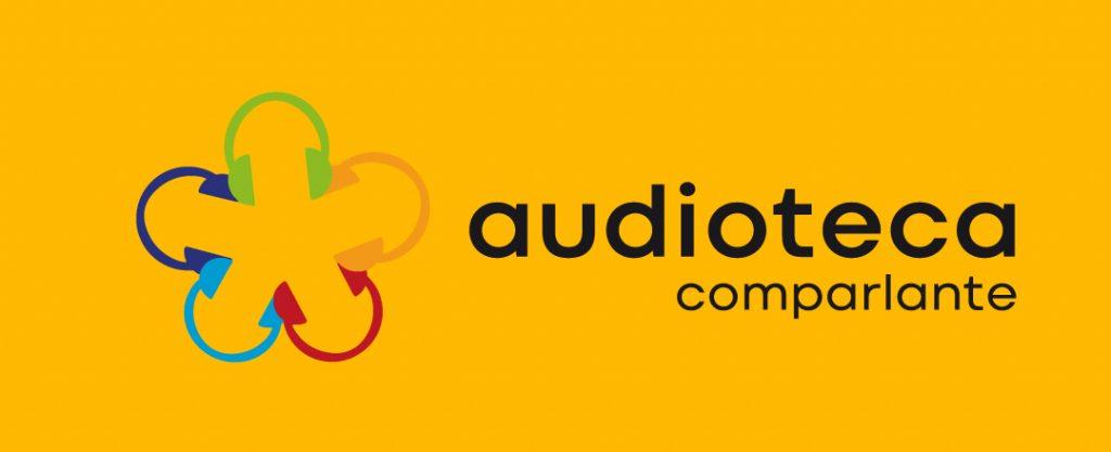"""Imagen del logotipo: """"audioteca de Fundacion Comparlante"""" en fondo amarillo."""
