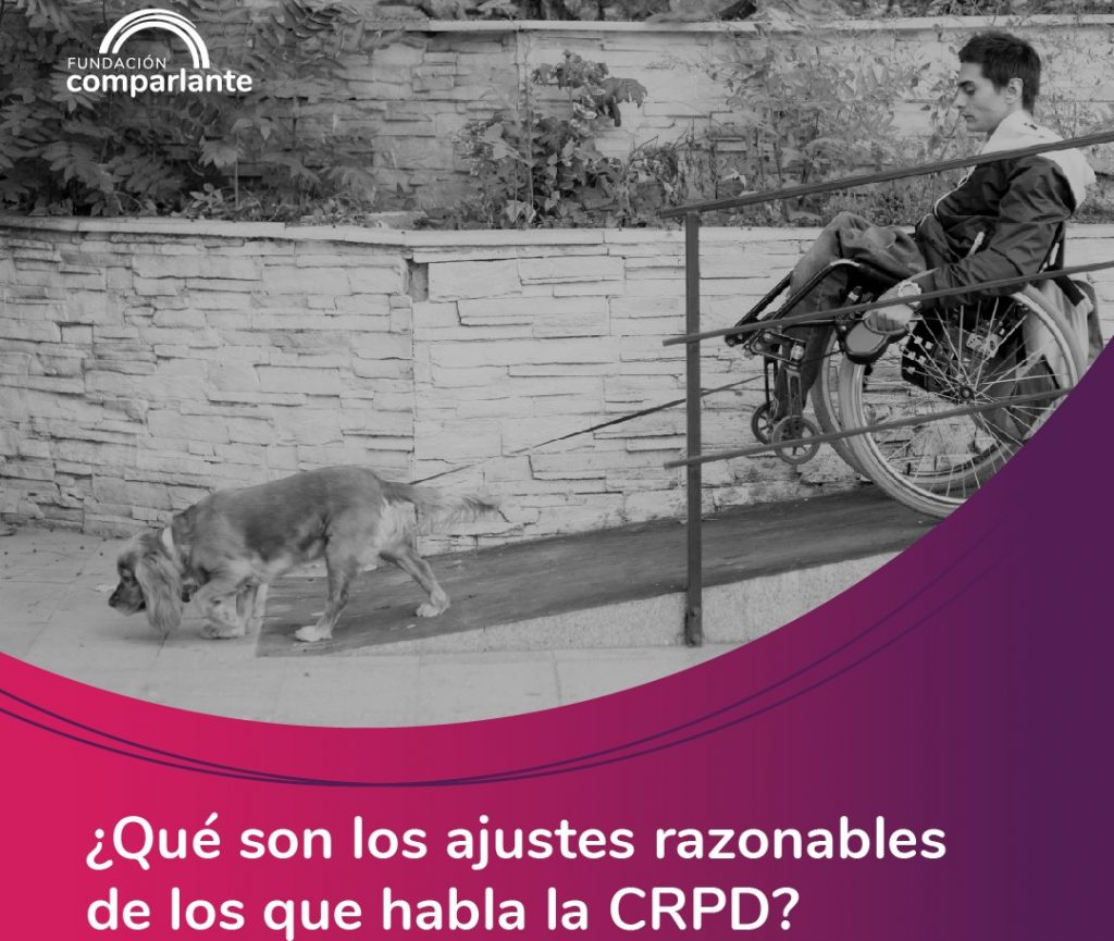 Image of young person with motor disability with guide dog, logo Fundación Comparlante.