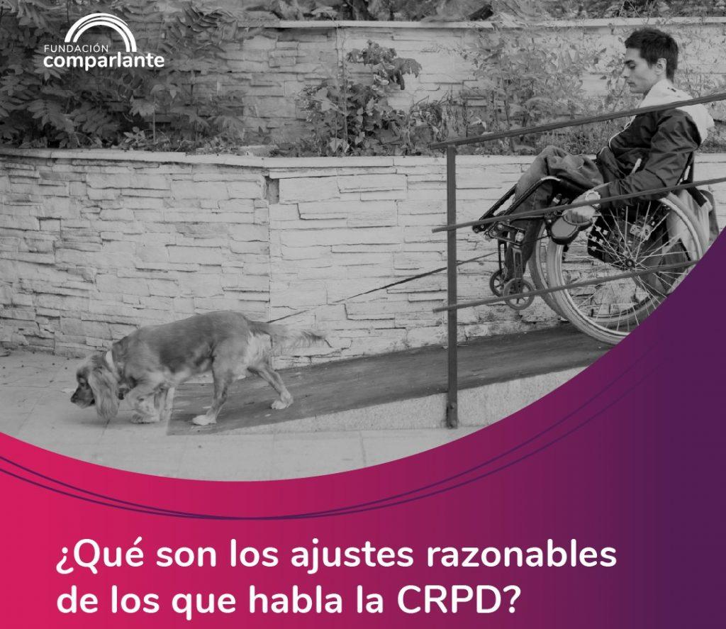 Imagen de joven con discapacidad motriz con perro guía, logotipo Fundación Comparlante.