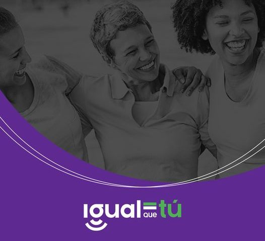 Image of three smiling young women hugging and looking at each other. Logo Just like you.