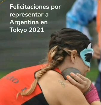 Image of a picture of Florencia Romero, promoter of human rights, discus and shot put thrower. With the caption: Congratulations for representing Argentina in Tokyo 2021.