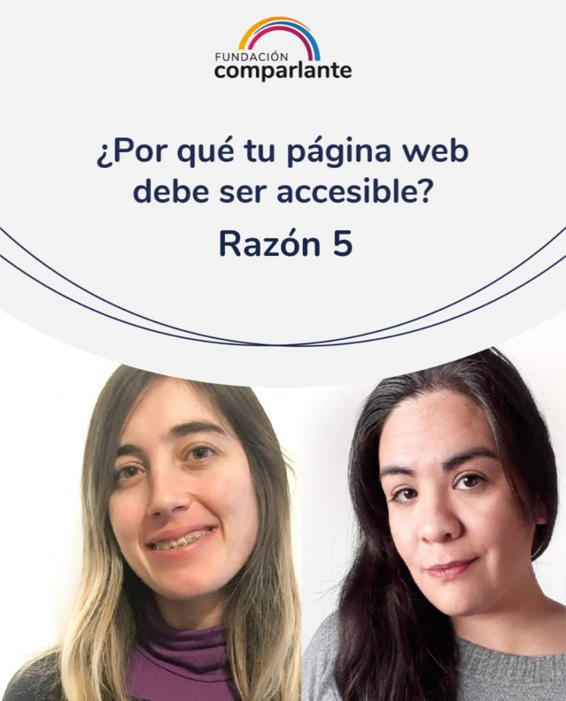 Imagen de Barbara y Mayra miembros del equipo de desarrollo web, junto a la frase 10 razones por las que tu sitio web debe ser accesible. Logotipo Fundación Comparlante.