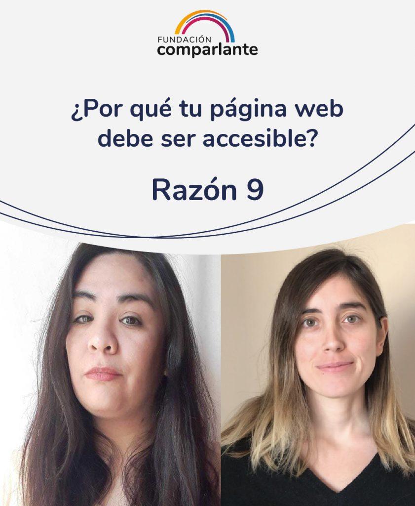 Imagen de Barbara y Mayra miembros del equipo de Desarrollo web. Con la frase: ¿Por qué tu pagina web debe ser accesible? Razón 9. Logotipo Fundación Comparlante.