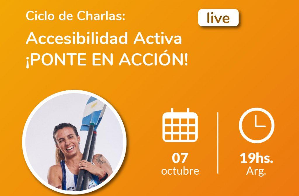 Flyer promocional del Ciclo de Charlas: Accesibilidad Activa ¡Ponte en Acción! con Brenda Sardón como entrevistada. Logotipo de Fundación Comparlante.