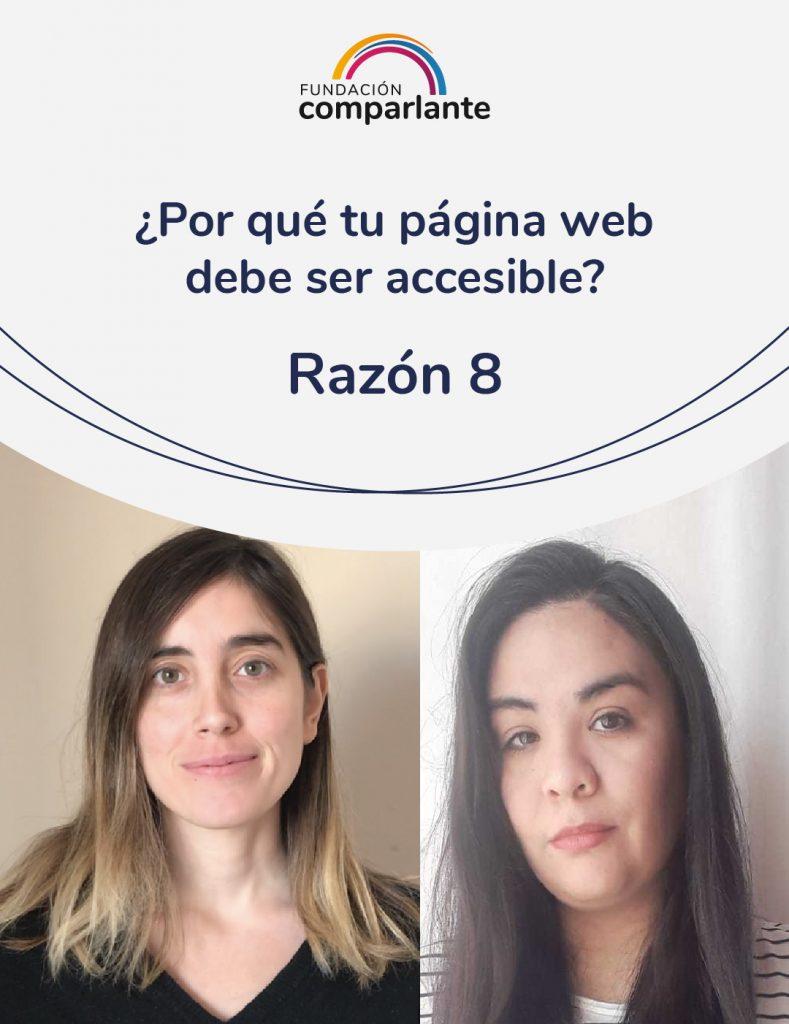 Imagen de Barbara y Mayra miembros del equipo de Desarrollo web. Con la frase: ¿Por qué tu pagina web debe ser accesible? Razón 8. Logotipo Fundación Comparlante.